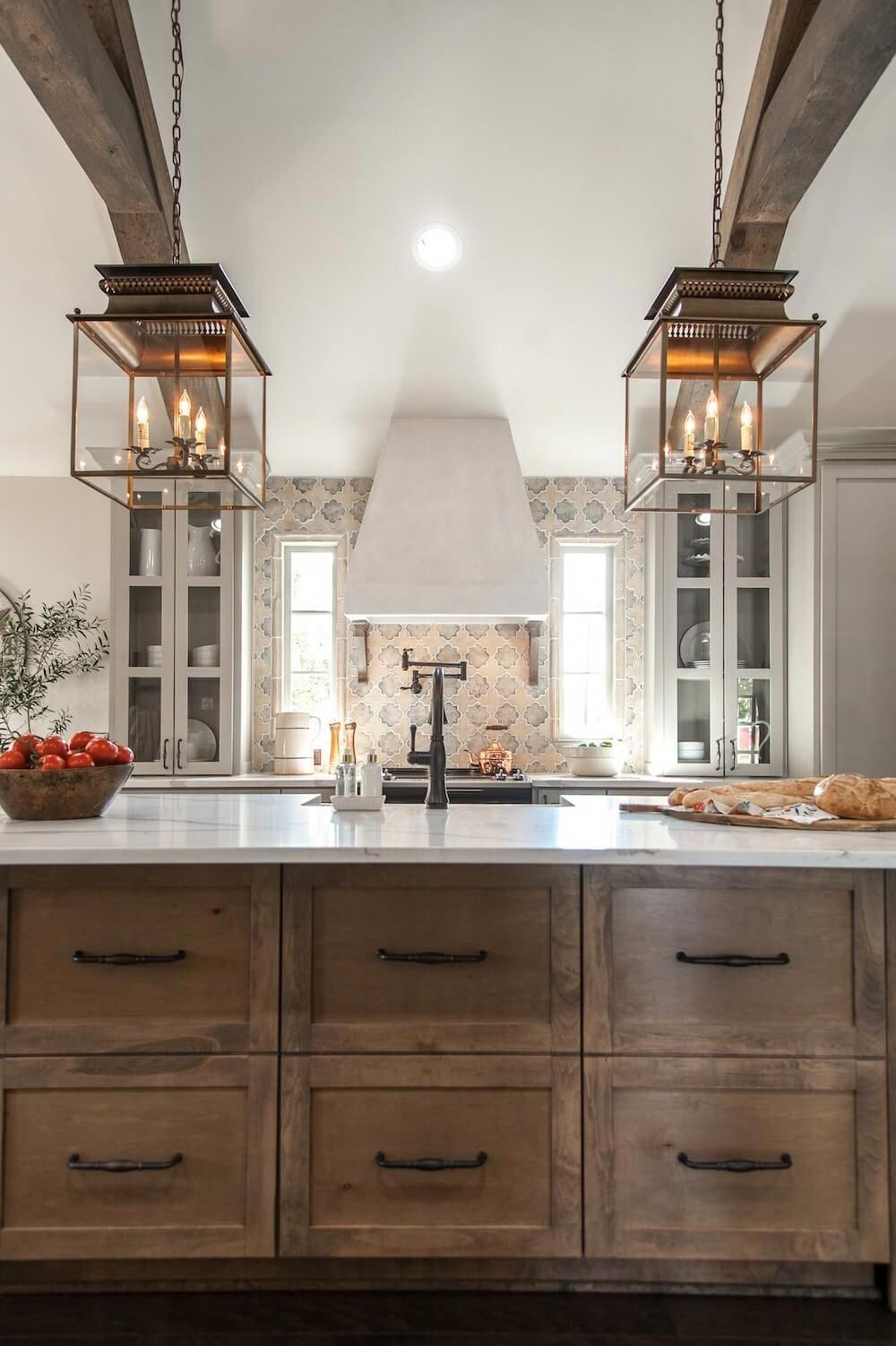 Raw Wood Kitchen Cabinets With Black Hardware