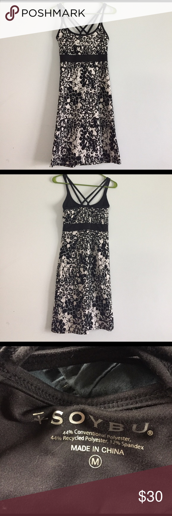 Soybu dress Worn once and in good condition. Has a built in bra for comfort. Cute criss cross detailing on the straps! I am 5'6 and the dress goes down to my knees! Soybu Dresses Midi