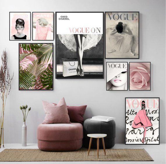 Mode Galerie Set von 8 Drucke - Chanel Drucke - Vogue Poster - Audrey Hepburn Print - Mode Wandkunst - Inspiration - druckbare Kunst