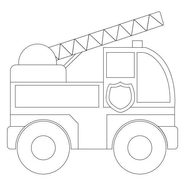 Fire Truck Simple Model Of Fire Truck Coloring Page Children