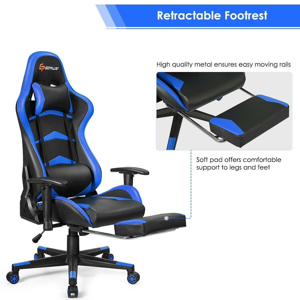 Massage Gaming Chair With Lumbar Support Footrest Gaming Chair Lumbar Support Game Room Kids
