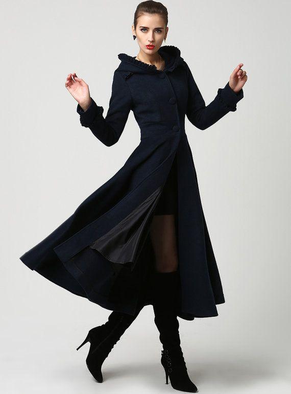 Womens Long Navy Blue Wool Coat with Hood and Ruffle by xiaolizi ...