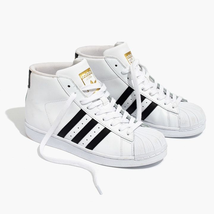 Madewell Womens Adidas Superstar Pro Model High-Top Sneakers (Size 8 M, Black  White)