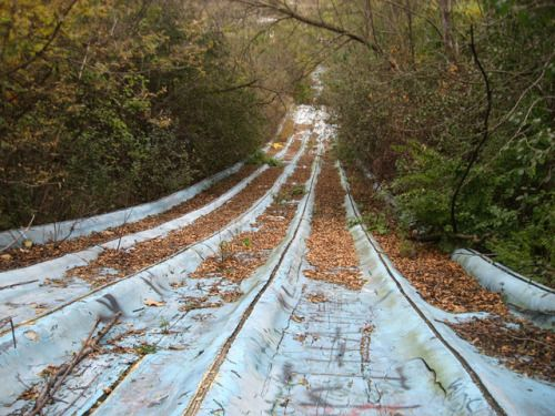 Abandoned water park slide, Oakbrook Terrace, The Zombie Zone