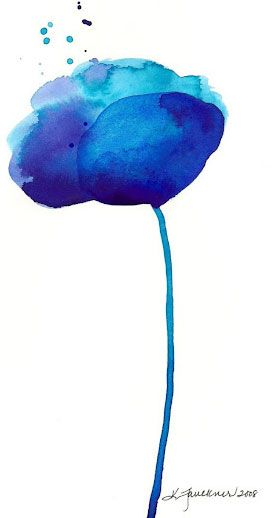 Blue Watercolor Flower Painting
