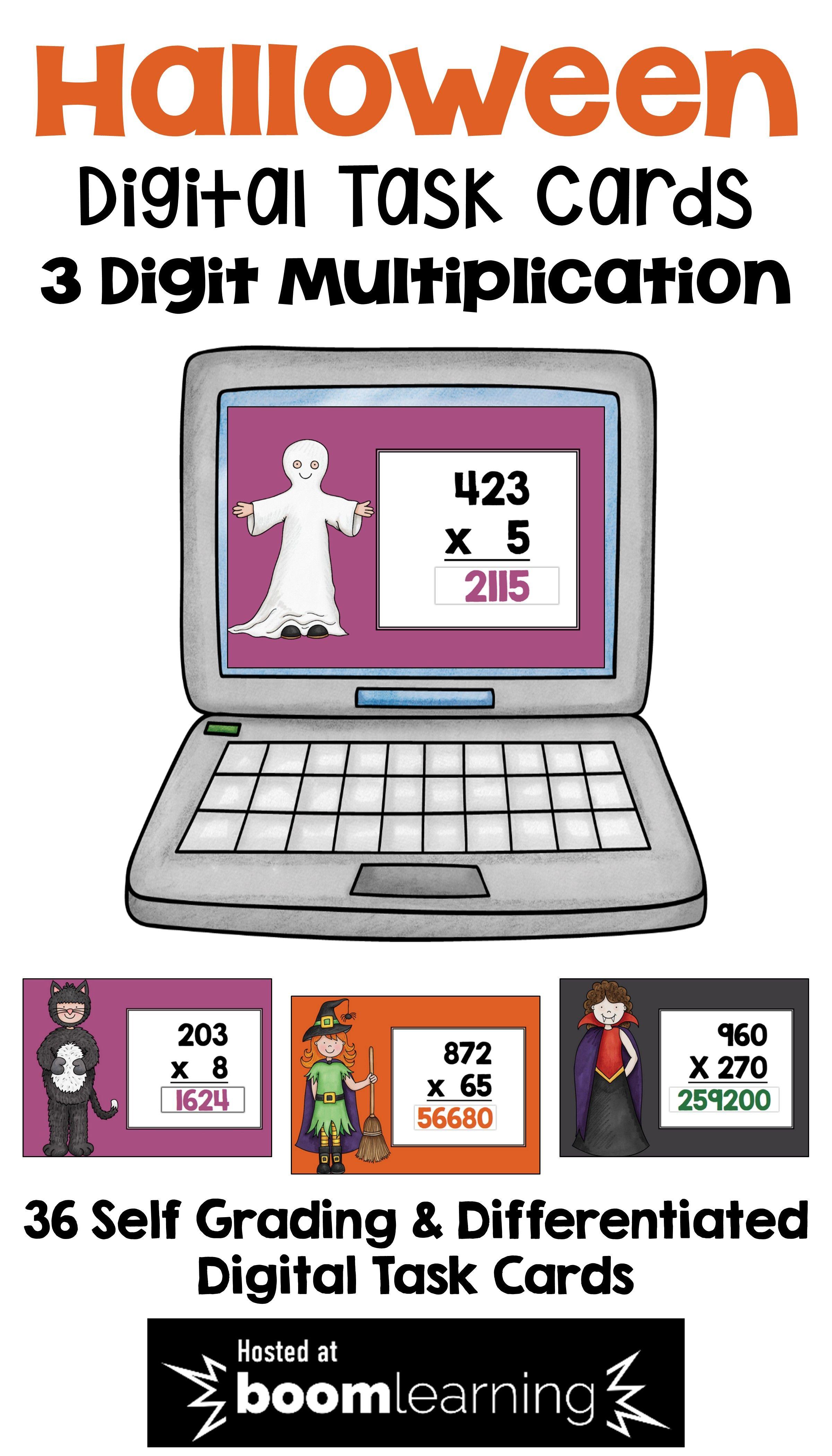 Halloween Math Boom Cards For 3 Digit Multiplication