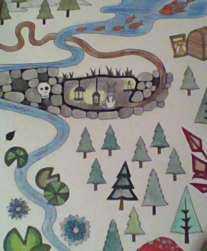 Johanna Basford Enchanted Forest Map Close Up Of The Rabbit Hole