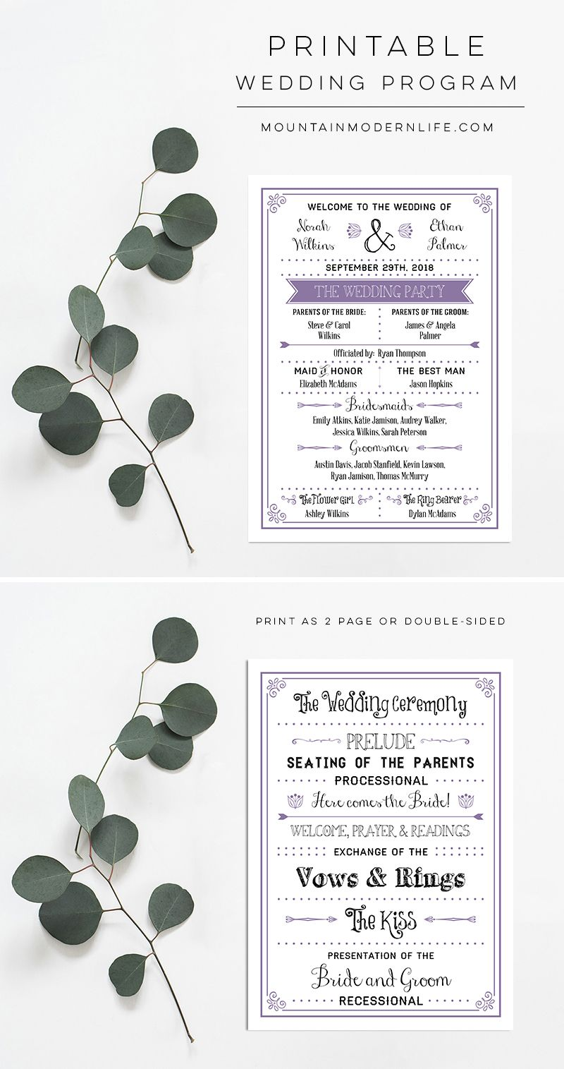 Lavender rustic diy wedding program crafts diy tutorials