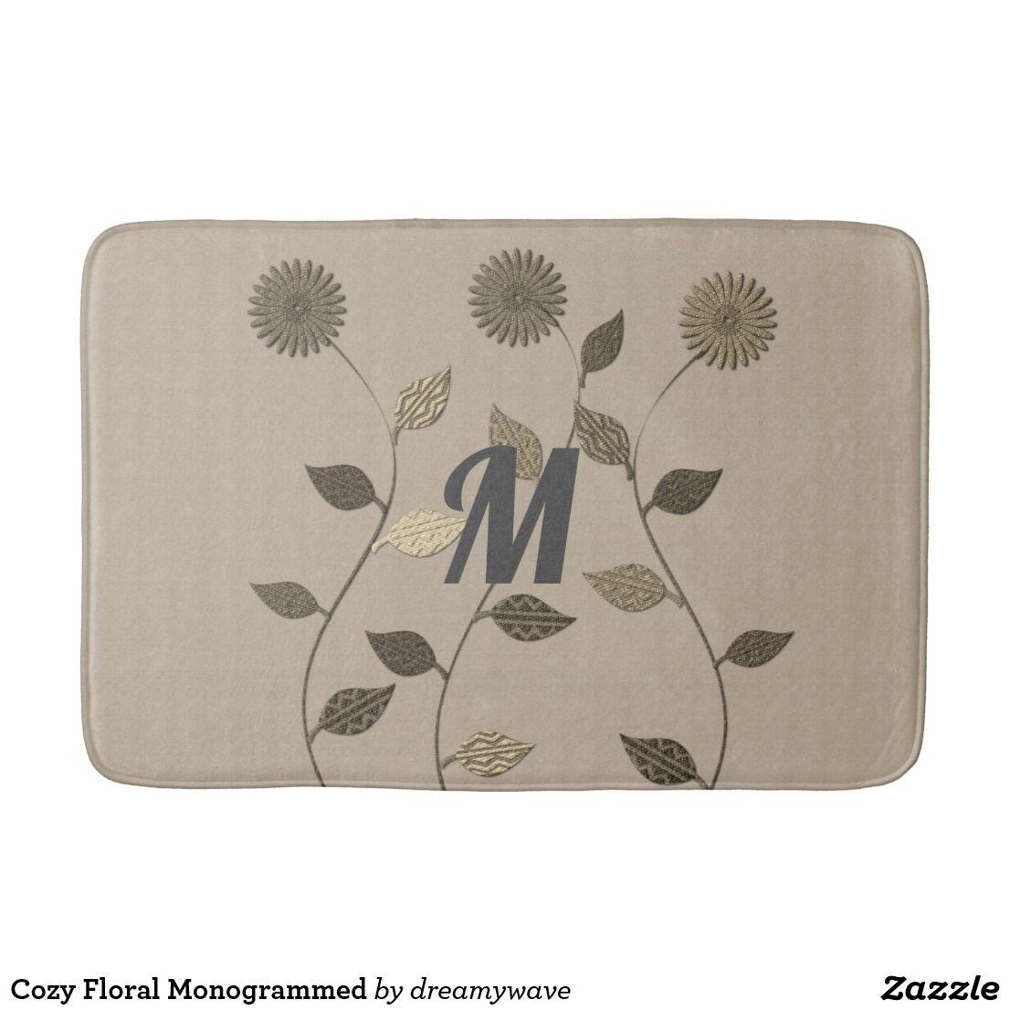 Cozy Floral Monogrammed Bath Mat Zazzle Com New Toilet Cozy