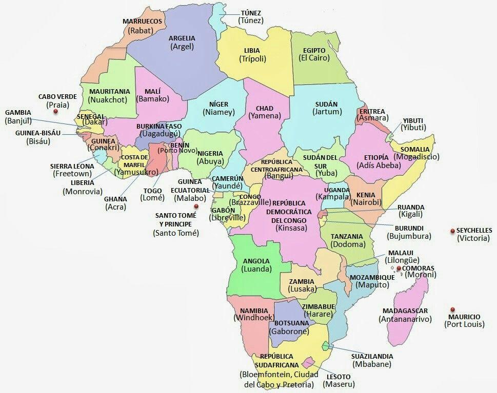Mapa De Africa Con Imagenes Mapa Politico De Africa Africa