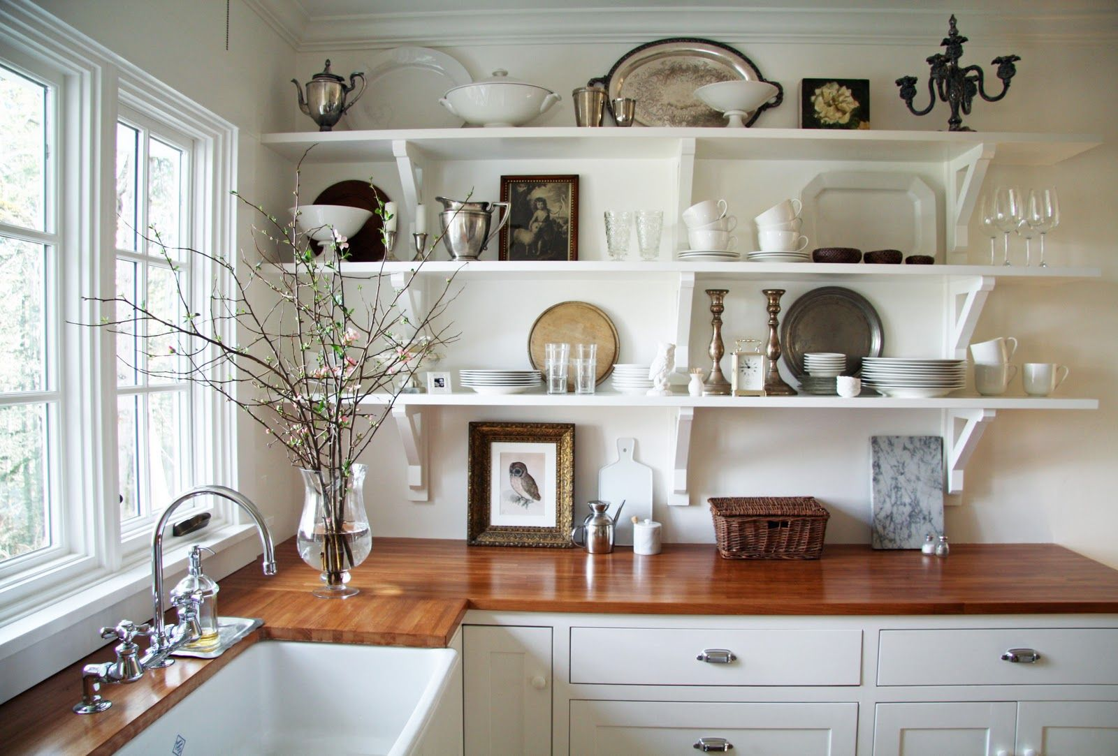 white country kitchen with butcher block. A Country Farmhouse: IKEA Birch Butcher Block Countertops. Food Safe Stain From The Environmental White Kitchen With O