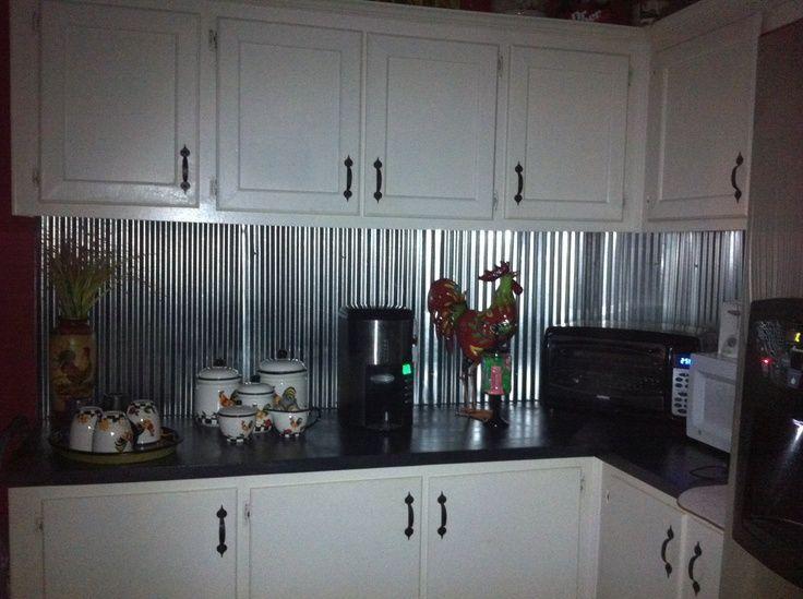 incredible metal kitchen backsplash ideas | cutting out outlets in corrugated backsplash - Google ...