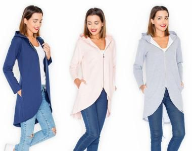 Plaszcz Dresowy Bluza Narzutka Kardigan Kaptur 36 5925962607 Oficjalne Archiwum Allegro Long Sleeve Blouse Fashion Coat