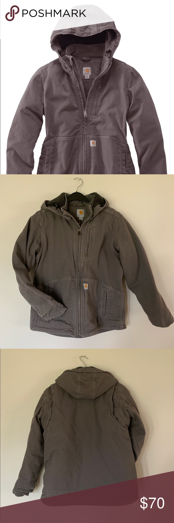 "Carhartt Women's Full Swing Jacket. Large 10/12 Almost new  Carhartt Women's Caldwell Jacket.  Worn (and washed) only once.  Zipper closure, lots of pockets, removable hood, super warm and comfy.  No holes, rips or stains.  From a very clean smoke free home.             Color is Taupe Grey/ shadow.                  Chest:  39"".    Waist: 33.   Hip: 42.5.  Measurements are approximate and taken while flat. Carhartt Jackets & Coats Utility Jackets #carharttwomen Carhartt Women's Full Swing #carharttwomen"