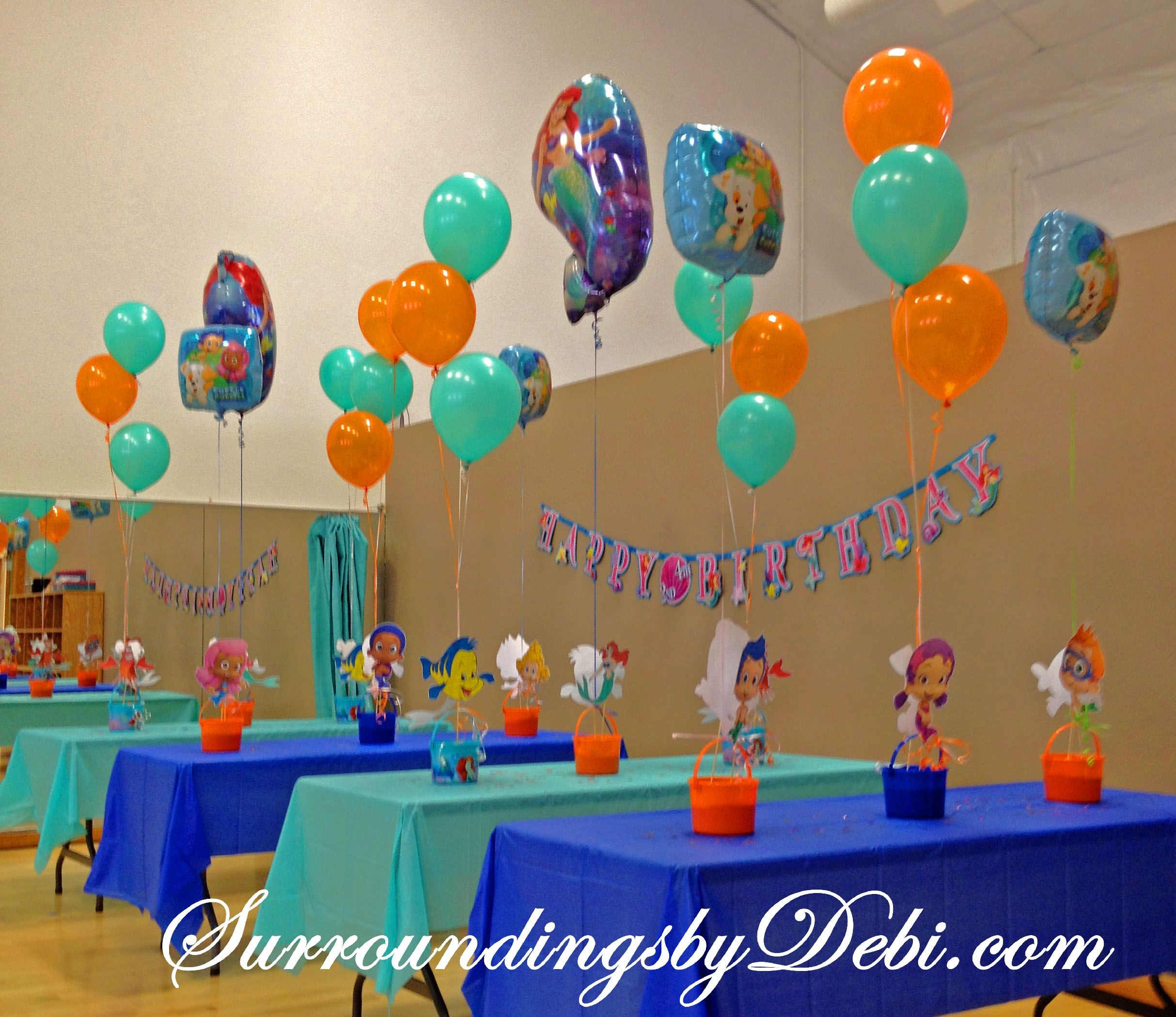 Bubble guppies centerpieces on pinterest bubble guppies for B day party decoration ideas