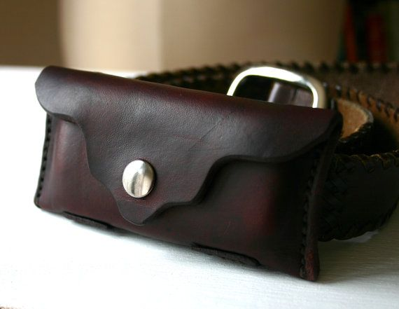 Brown Leather Pocket Knife Holder For Belt By