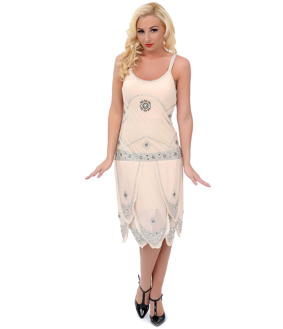 Cream u silver sequined gatsby flapper dress uniquevintage the