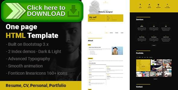 Free Nulled S  Resume Cv Portfolio One Page Html Template