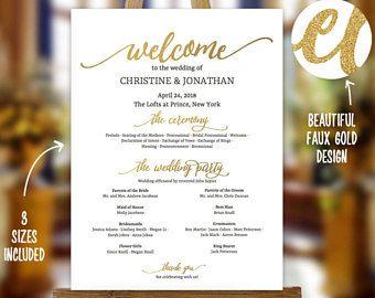 Golden Wedding Program Sign Template Faux Gold Printable Poster