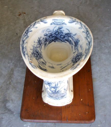 Antique Transferware Toilet Bowl Sink Rare Antique Circa