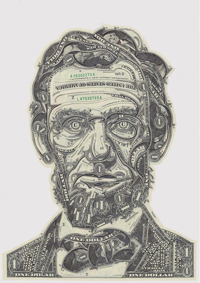 dollar bill collage