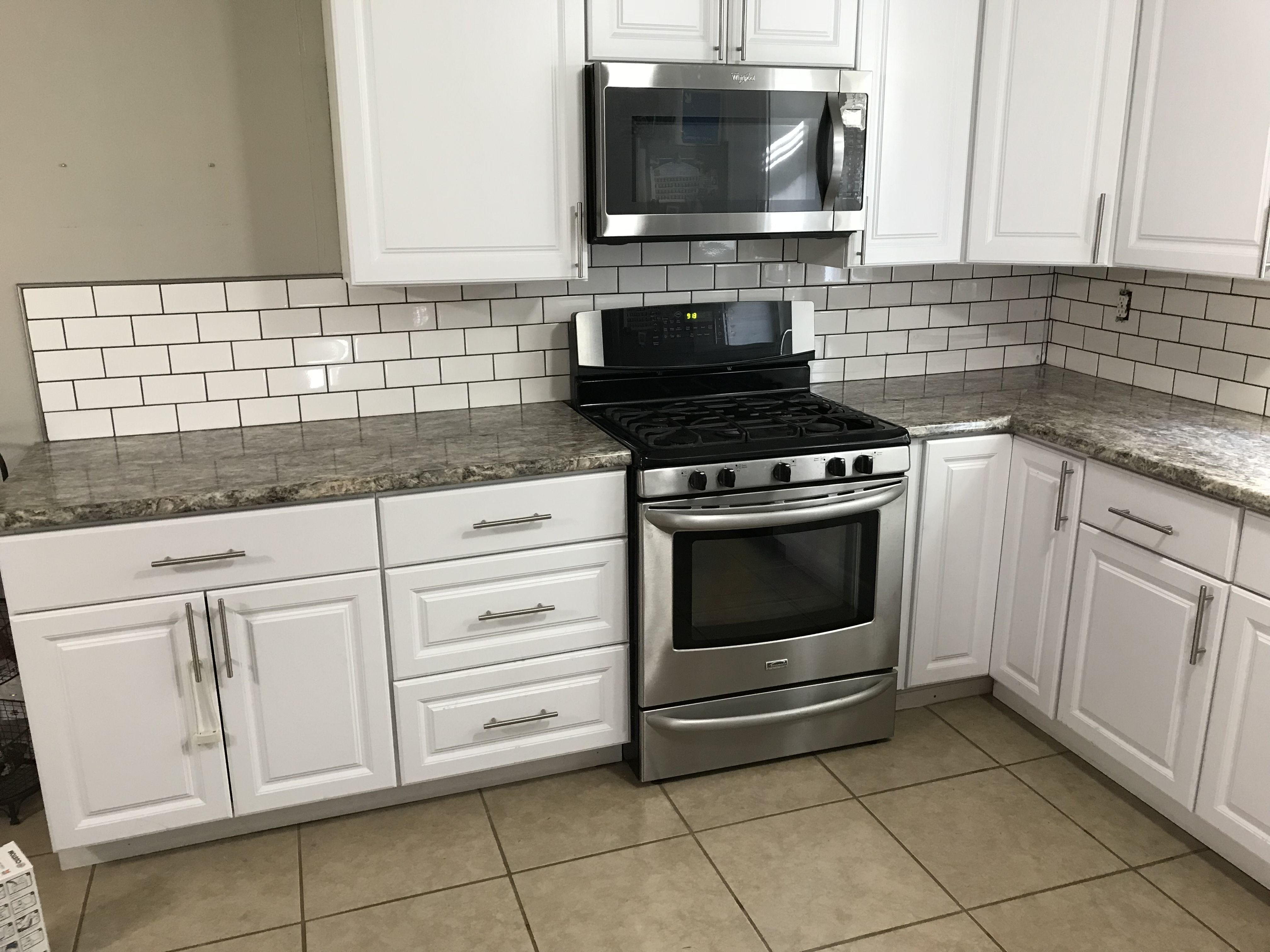 - Our New Kitchen Backsplash. 3x6 White Subway Tile With Pewter Grout  Kitchen Remodel, Kitchen, White Kitchen Cabinets