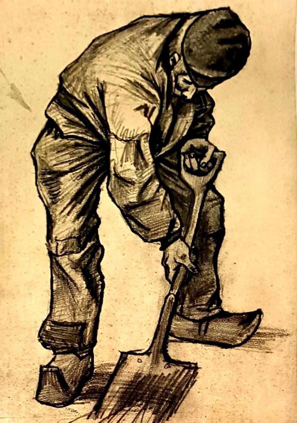 Male Peasant Digging Vincent Van Gogh VG174 Art Print A4 A3 A2 A1