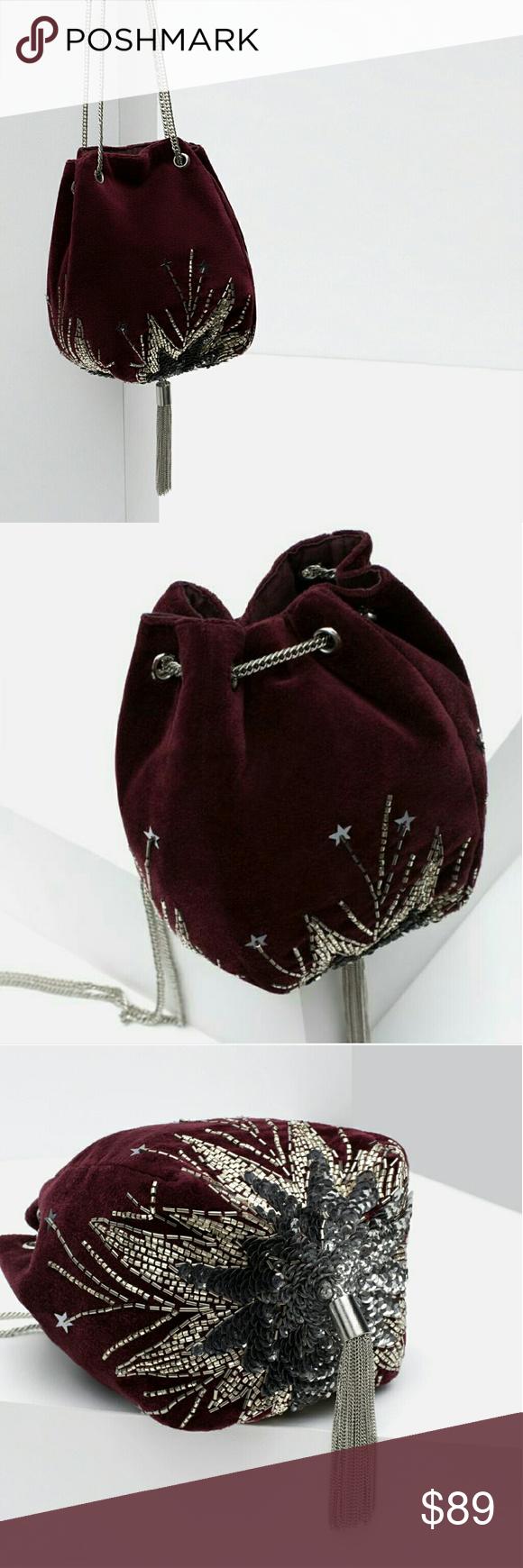 Zara Hand Beaded Velvet Evening Bucket Bag Nwt Zara Hand