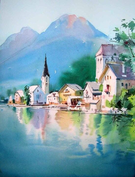 aquarelle art pinterest aquarelles paysages et peinture aquarelle. Black Bedroom Furniture Sets. Home Design Ideas