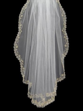 Gold Embroidered Edge Wedding Veil 99514