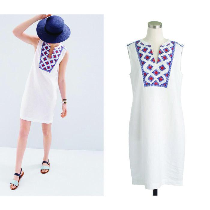 Sleeveless Embroidered Sunburst Dress J Crew #casualdress  #abstractprintdress #womenfashion #dresses