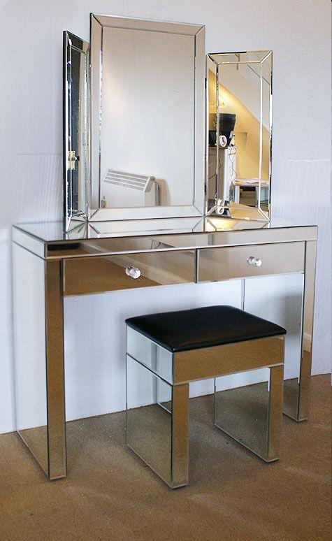 Plain venetian mirrored dressing table set Assembled   Diamond ...