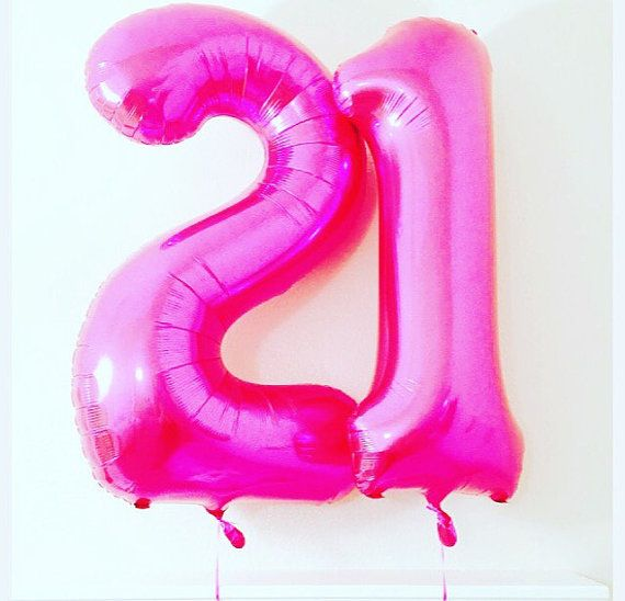Pink LARGE 21 Balloon 21st Birthday Photo Prop By Girlygifts07