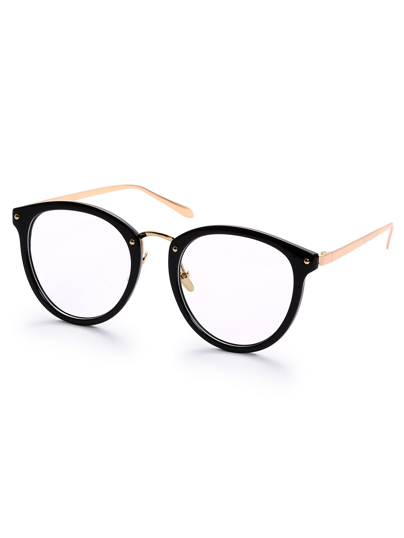 Black Round Frame Metallic Arms Sunglasses