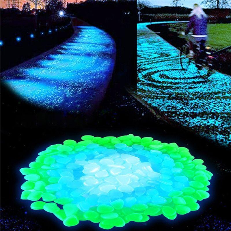 Pathways Glow in the Dark GREEN Stones Aquarium White glows Green 100pcs