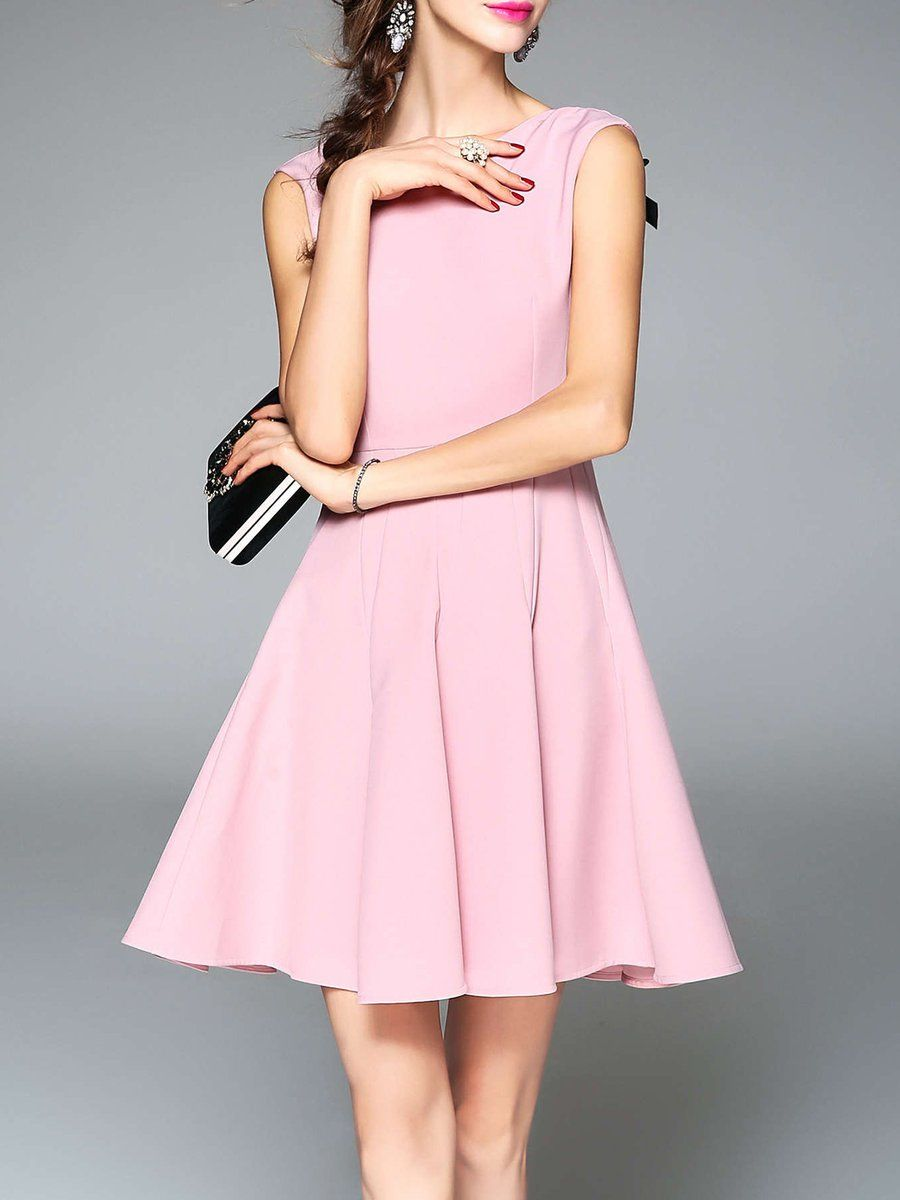 Shop Mini Dresses - Pink Crew Neck Polyester Bow Sleeveless Party Dress online. Discover unique designers fashion at StyleWe.com.