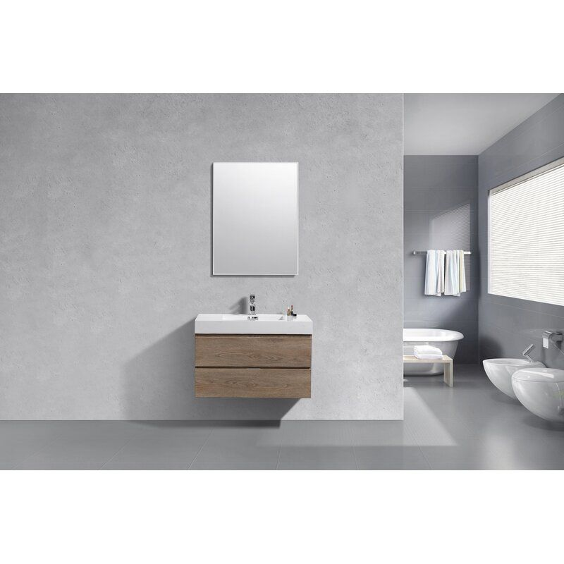 Malakai 36 Wall Mounted Single Bathroom Vanity Set In 2020 Single Bathroom Vanity Modern Bathroom Vanity Vanity Set