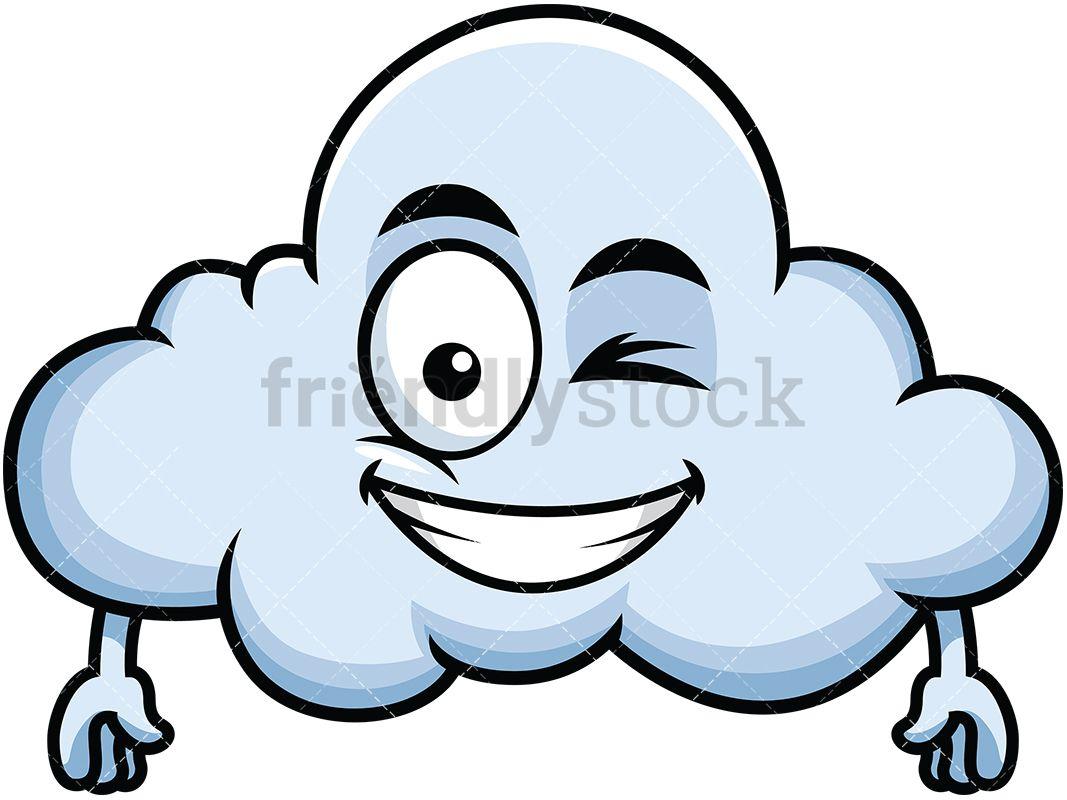 Winking And Smiling Cloud Emoji Emoji Clipart Cloud Emoji Emoji