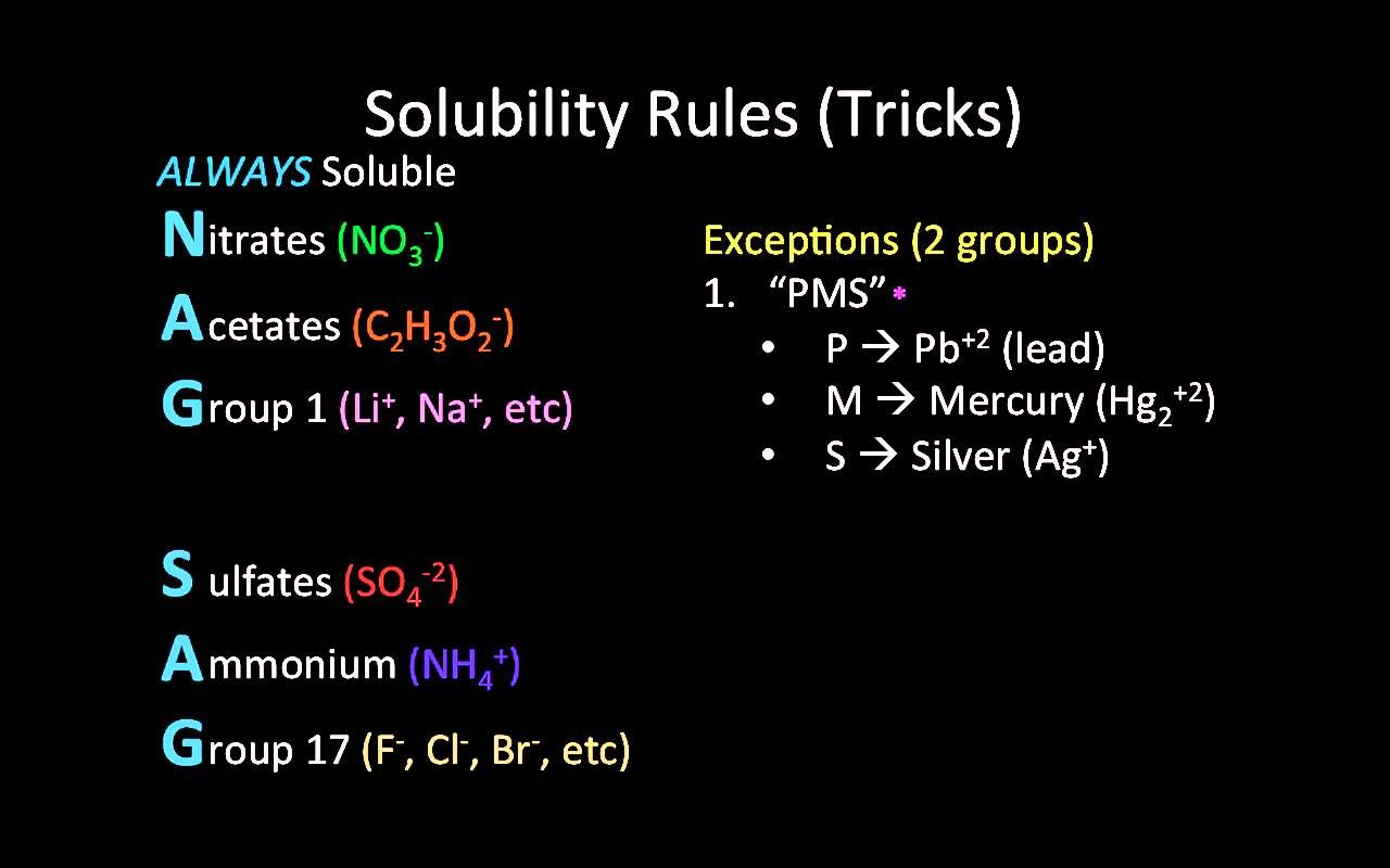 Solubility Rules Mnemonic Tricks Thanks Pms And Castro