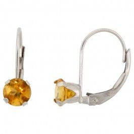 10k White Gold Natural Citrine Leverback Earrings 5mm Round 1 ct, 9/16 inch. Simplicity of design has nothing to do with cost, and everything to do to bringing out and highlighting the natural beauty of things, and in this case a beautiful matched pair of genuine gemstones.
