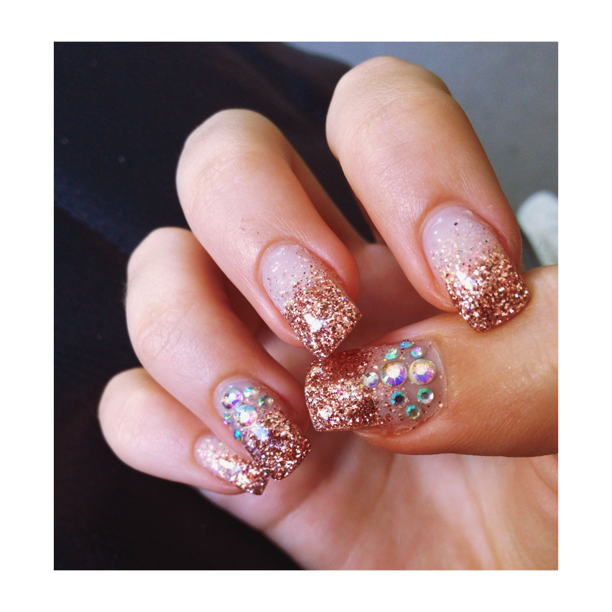Gold For Prom Nail Ideas: Prom Nail Ideas, With Rose-gold Glitter And Crystal Gems