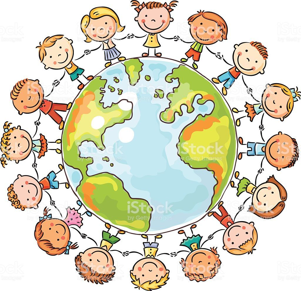 Happy cartoon children round the Globe as a symbol of