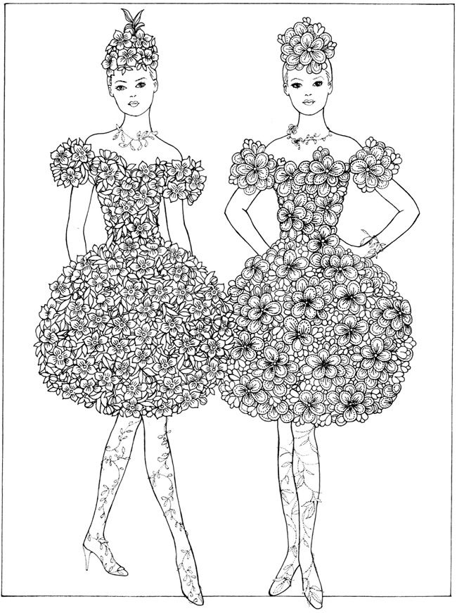 Creative Haven Flower Fashion Fantasies Coloring Book | Dover ...