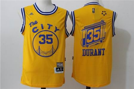 9798de95832 Golden State Warriors  35 Durant Warriors throwback jersey yellow ...