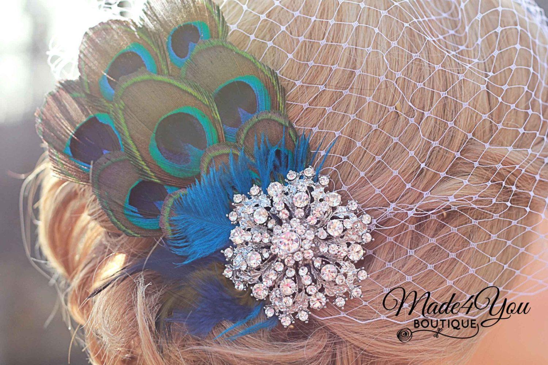 Peacock Wedding FascinatorBirdcage Wedding by Made4YouBoutique, $65.00 @Lois VanderWoude Jones