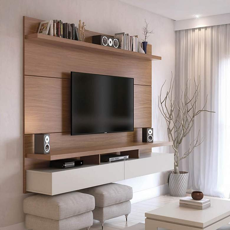 City 63 W Cream And Off White Floating Entertainment Center