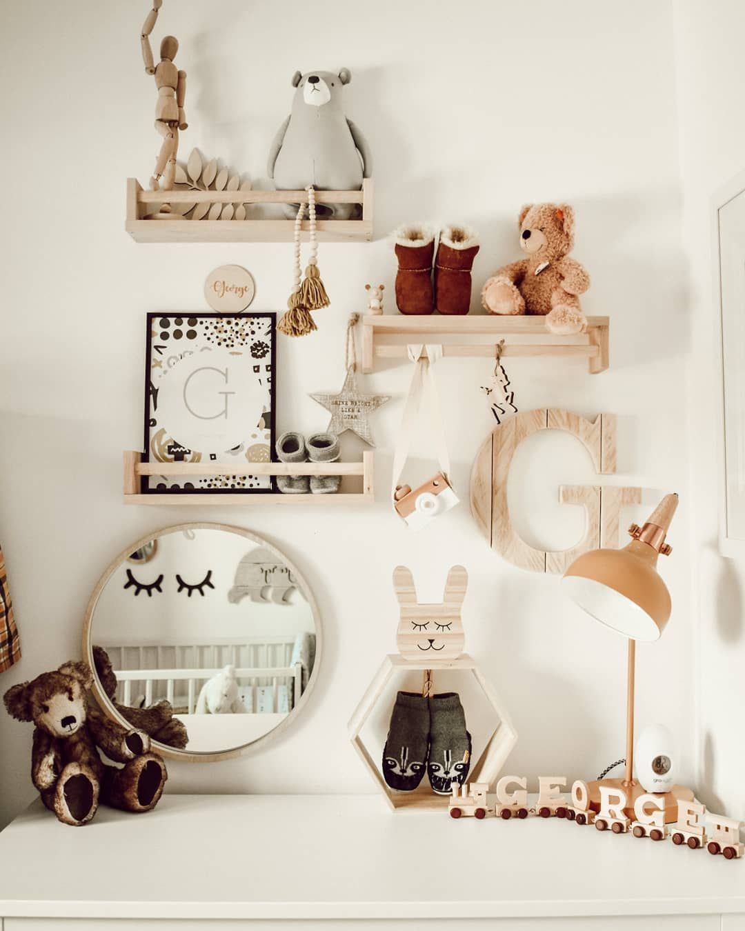 Scandi Woodland Nursery Idea Featuring Ikea Hack Bekvam Spice Rack