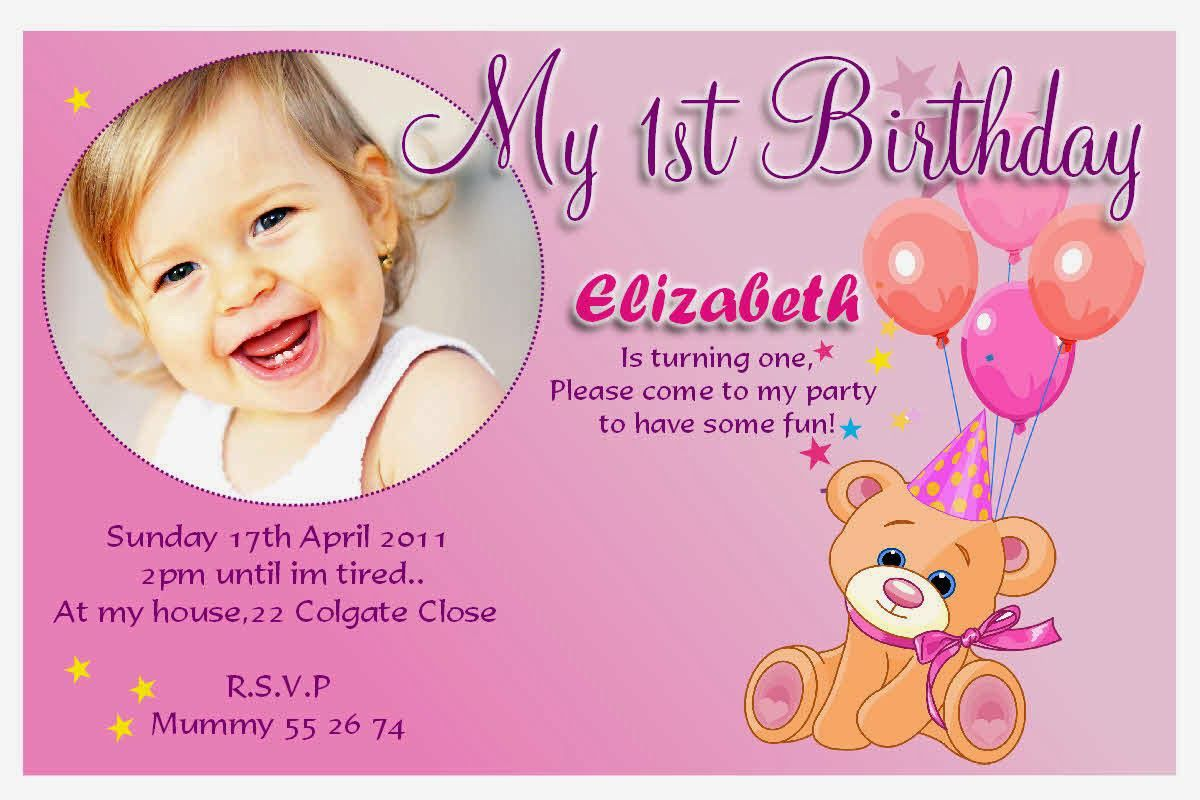 1st Birthday Invitations Girl Free Template First Birthday