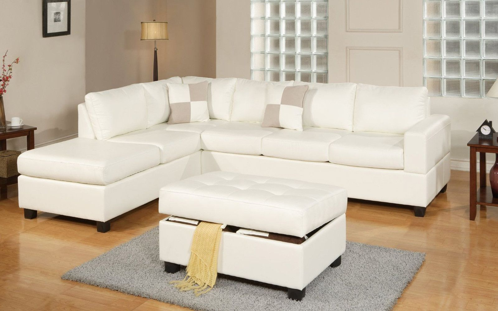 Cruce Modern Bonded Leather Sectional With Reversible Chaise Leather Sectional Sofas Sectional Sofa White Sectional Sofa