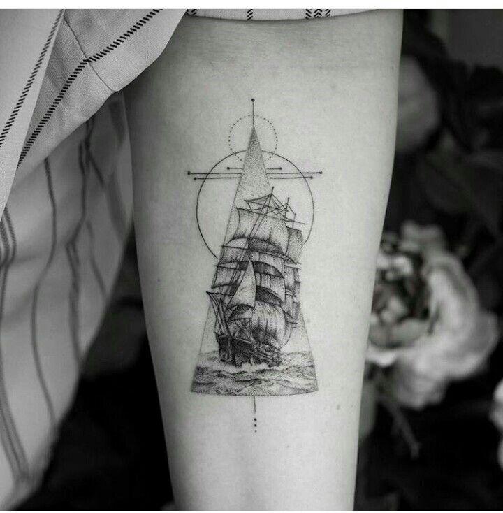 Ship Tattoo Small: Ship Tattoo, Geometric Tattoo
